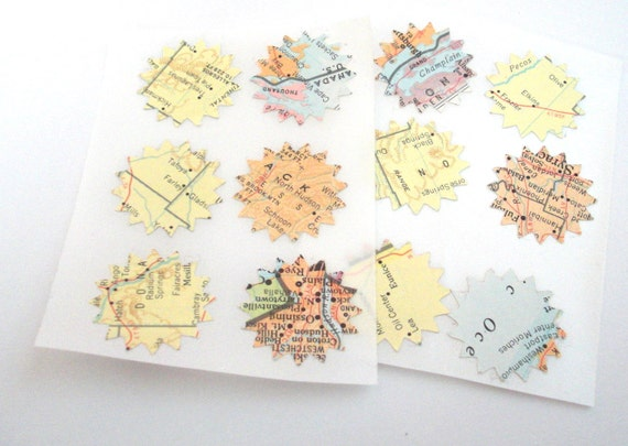 Vintage, Recycled Map Sticker Seals