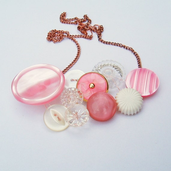 Vintage button bib necklace in pearly pink - The Compliment