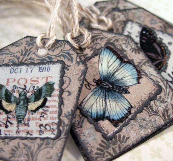 Small Gift Tags, Gray Butterfly Hang Tags