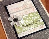 Thinking of You Floral and Damask Greeting Card