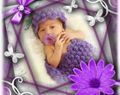 COCOON HAT Set Purple Grapes Newborn Photography Prop Pod Crochet Boutique Handmade Lavender Popcorn Chunky -Baby Shower- Bunch of Grapes