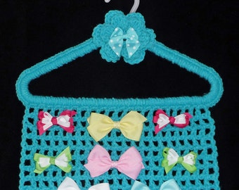 Hair Bow Holder TEAL Turquoise Aqua Closet Organizer Hanger Storage Hair Accessory Hairbows Barrettes Clippies Jewelry Crochet Boutique