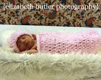 COCOON BEANIE Newborn Photography Prop Pod Crochet Boutique Handmade Hat PINK Boucle -Baby Shower