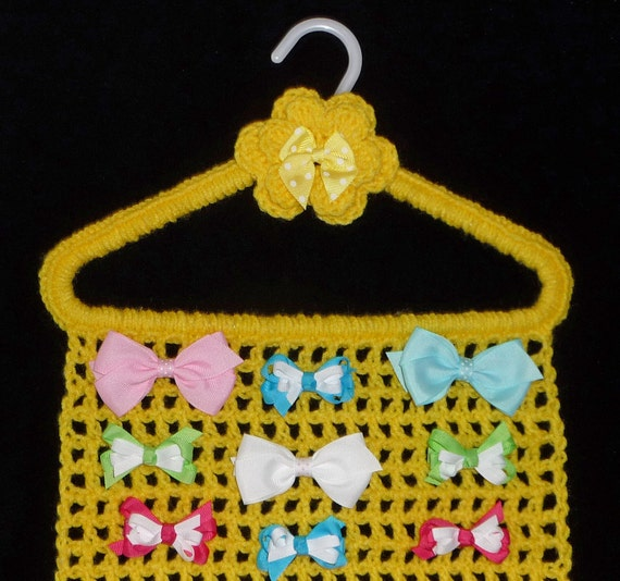Hair Bow Holder YELLOW Closet Organizer Hanger Storage For Jewelry Hair Accessories Hairbows Barrettes Crochet Boutique