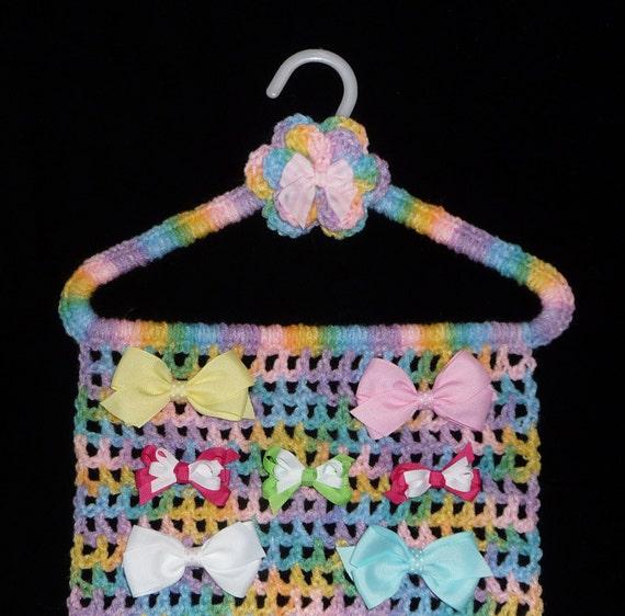 Hair Bow Holder PASTEL Closet Organizer Hanger Storage Jewelry Hair Accessories Hairbows Barrettes Feathers Cheer Handmade Crochet Boutique
