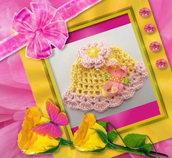 Sale! PREEMIE BABY HAT Hair Bow Butterfly Newborn Baby Infant Crochet Handmade Photography Photo Prop Pale Pink Yellow