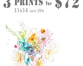 Three 11x14 giclee Prints for 72 Dollars Your Choice