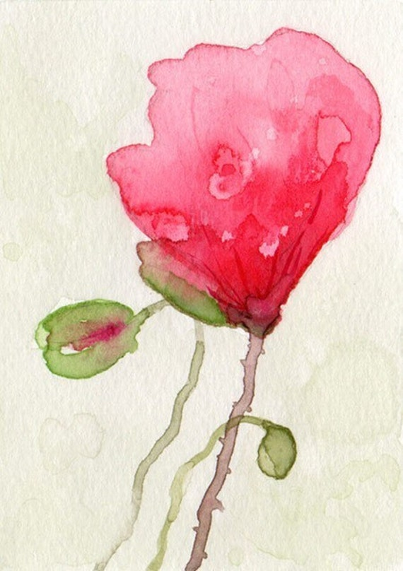 Sale Poppies Impression Giclee PRINT from watercolor painting 5x7