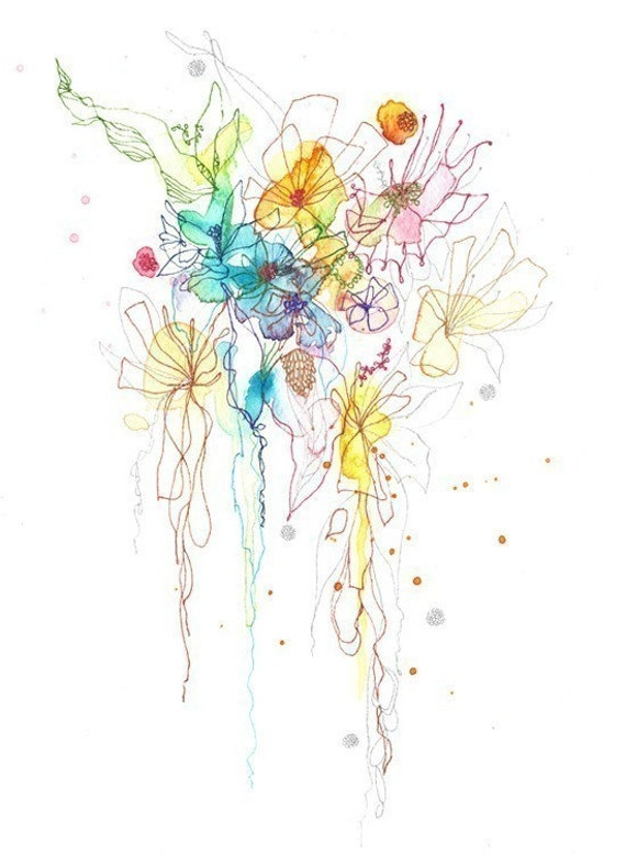ART giclee  PRINT 8.5x11 from mix media watercolor drawing- Blossoms Series 34