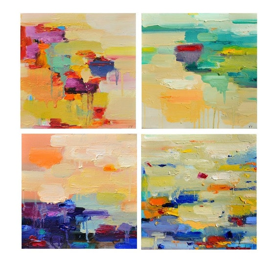 Abstract art Print, Abstract painting, oil painting, set 12x12, wall art- wall decor, colourful prints, landscape