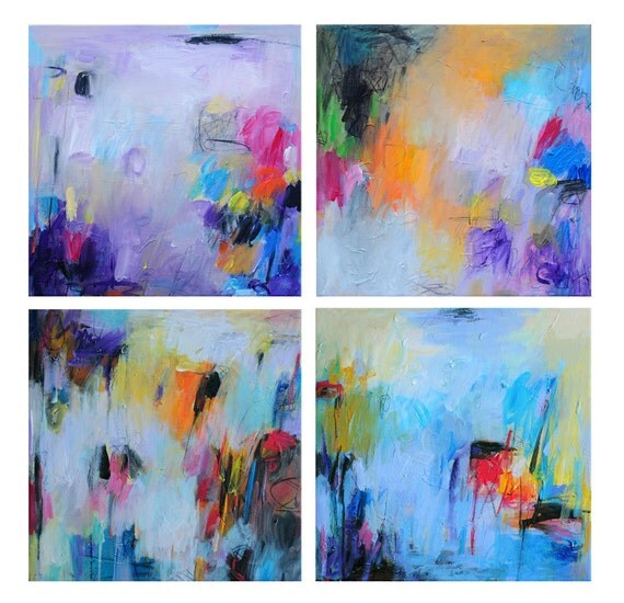 Abstract Art Prints, Abstract Painting, Oil Painting, Fine Art Print , Giclee Prints Set 12x12 , Wall Art , blue prints