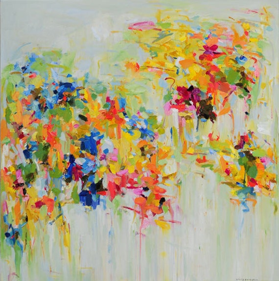 Items similar to print abstract painting oil painting for Spring canvas paintings