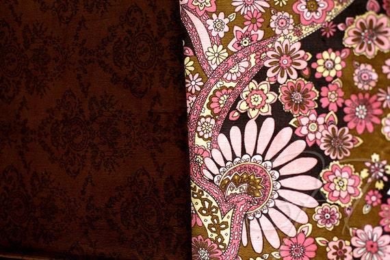 Kaufman floral and brown damask corduroys... destash fabric lot