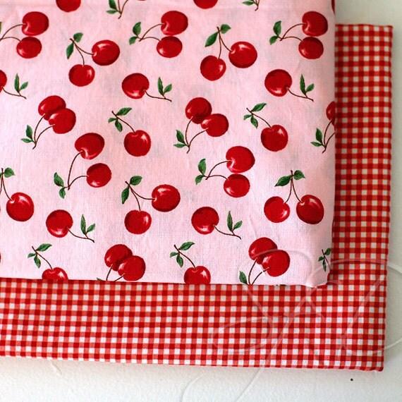 Cherries & Gingham... HTF fabric lot of 2... destash 2 yd plus