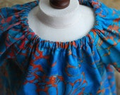 Blue and Red Batik Nightgown for 14, 15 and 16 Inch Waldorf Dolls -- RESERVED