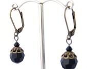 Antique Gold Black Swarovski Crystal Earrings