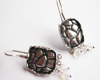 Sterling Silver  tortoise  earings with opalit beads