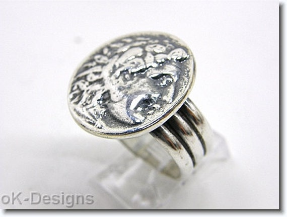 Roman Coin Ring .Sterling Silver. 925 Ring. Statement ring.