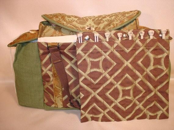 Custom Order for Amgknit / Deluxe Knitting/Crochet Tote Bag- IRISH COFFEE