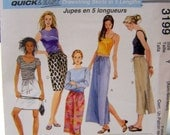 Sewing Pattern McCall's 3199 Quick & Easy Drawstring Skirt in 5 Lengths Size Xsm- Sml - Med Uncut