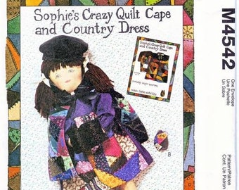 Doll Pattern McCall's Sewing Pattern 4542 Sophie's Crazy Quilt, Cape, and Kitten  Uncut and complete
