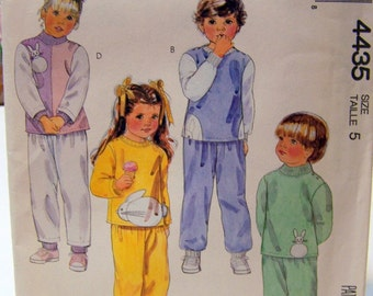 Children's Sewing Pattern McCall's 4435 Tops, Pants, and Bunny Appliques Size 5 Uncut  Complete