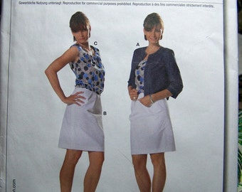 Sewing Pattern Burda 7788 Jacket, Tank Top, and Skirt Size 10-22 Bust 32 -44 inches Uncut and Complete Plus Size