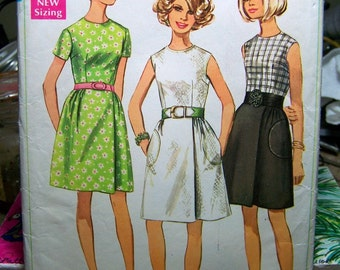 Vintage Sewing Pattern Simplicity 8030 Mini Dresses Bust 32  Complete