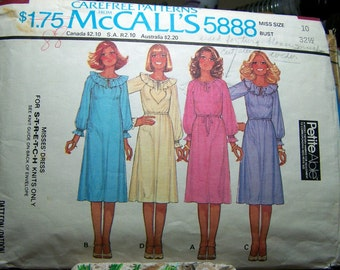 Vintage 70's Sewing Pattern McCall's 5888 Retro Pullover Dress Size 10 Bust 32 Complete