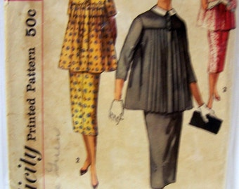 Vintage 50's Sewing Pattern Simplicity 2277 Maternity Tops and Skirt Kick Pleat Size 11 Bust 31