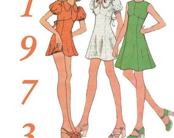 Vintage 1973 Mini Dress Puffed Sleeves Sewing Pattern McCall's 3536 Size 14 Bust 36 Complete