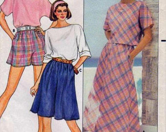 Vintage Sewing Pattern Butterick  3307 80's Top Bias Skirt Culottes Shorts Bust 36-40 Complete Uncut FF