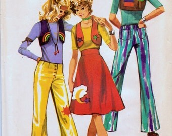 Vintage 1970s Sewing Pattern Simplicity 9376 Hip Hugger Pants Skirt and Bolero Bust 29 inches Waist 23 inches Complete