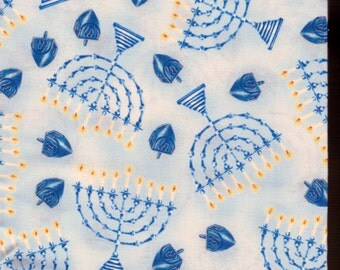 Judaic Fabrics Fat Quarters Blue Menorahs and Dreidels on Light Blue  Design
