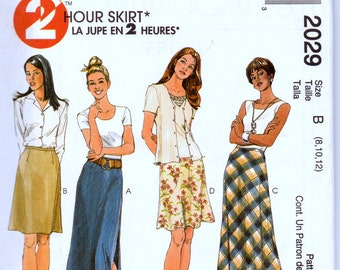 Sewing Pattern McCall's 2029  Misses 2 Hour Skirts Size 8-10-12 Waist 24-26 inches Complete Uncut FF