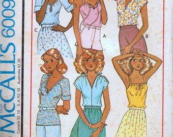 Vintage Sewing Pattern McCall's 6009 Misses' Stretch Tops Size Small Bust 32-34 inches  Complete