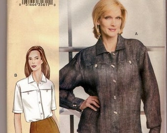 SALE Sewing Pattern Vogue 7636 Misses' Shirt  Bust 38-43 OR 46-55 inches Uncut Complete
