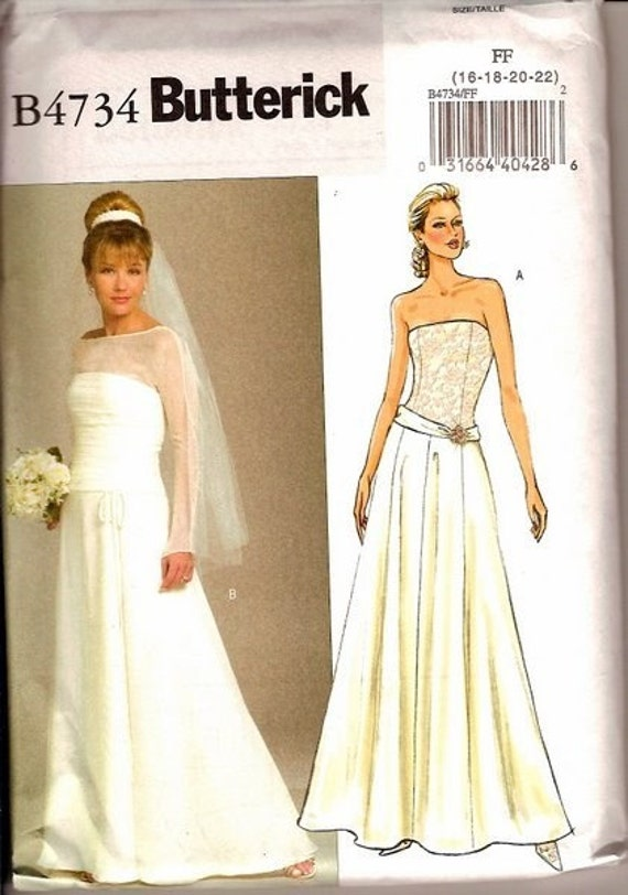 Misses 39 wedding gown pattern butterick 4734 complete for Butterick wedding dress patterns