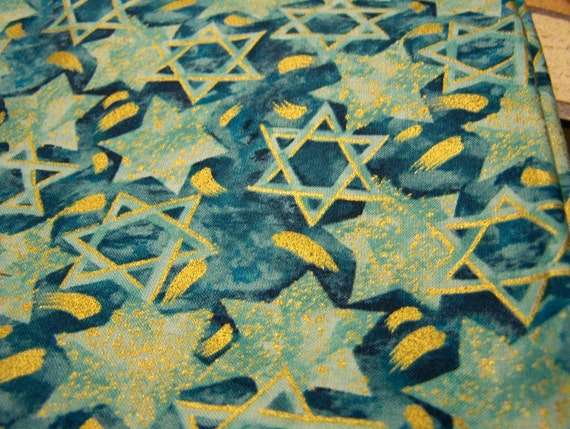 Judaic Fabric- Alexander Henry Mogen David Fat Quarters Stars on Blue and Teal
