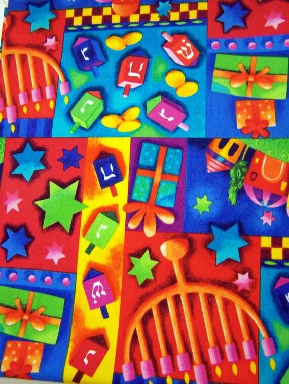 Judaic Fabric Fat Quarters Colorful Hanukkah Cotton