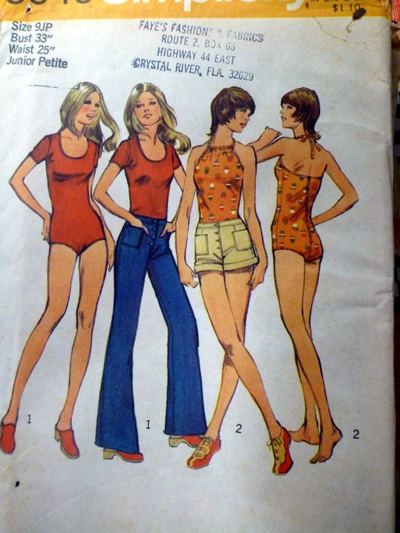 1973 Sewing Pattern Simplicity 5040 Bell Bottoms, Body Suit , Short Shorts Size 9JP Bust 33 Uncut Complete