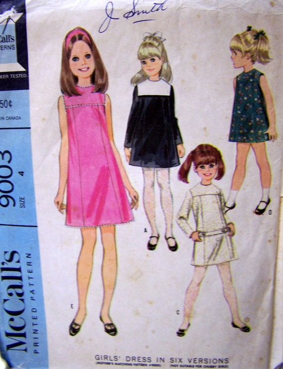 Vintage Sewing Pattern McCall's 9003 Girls' Party Dress Size 4