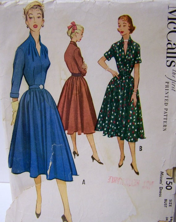 Vintage Sewing Pattern McCall's 9150 Rockabilly Dress Bust 34 Complete