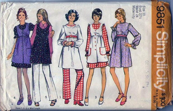 VintageSewing Pattern Simplicity 9851  Mod Mia Farrow Maternity  Top, Dress, Pinafore, Pants Size 10 Bust 32.5