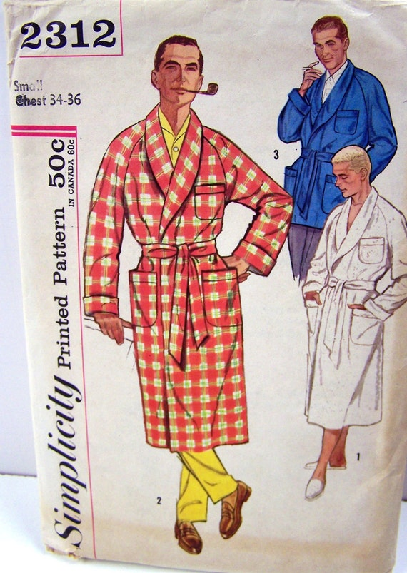 Vintage Sewing Pattern Simplicity 2312  Men's Robe Size Small Chest 34-36 Complete