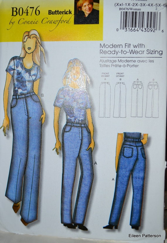Sewing Pattern Butterick 0476 Women's Jeans Plus Sizes XXL - 6x  Waist 36-58 inches Complete Uncut FF