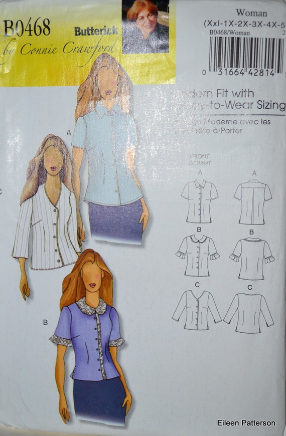 Sewing Pattern Butterick 0468 Blouses Plus Sizes XXL - 6x  Bust 44 - 68 inches Complete Uncut FF