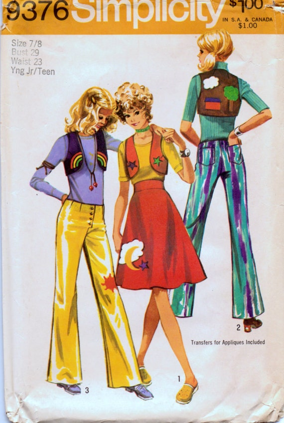 Early 1970s juniors/teens' bolero, skirt, and hip-hugger pants pattern Simplicity 9376