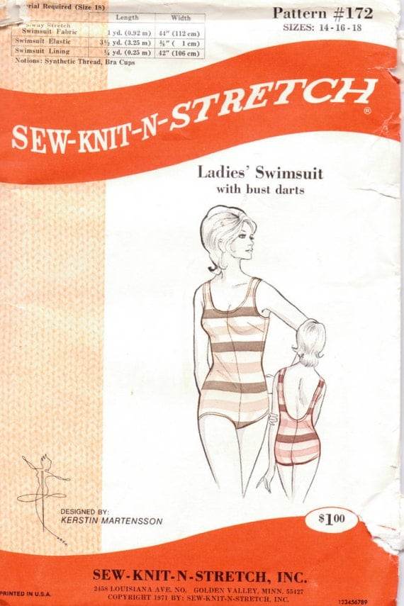 Vintage Sewing Pattern  Misses' Swimsuit Sew Knit n Stretch 172  Bust 36-40 inches Complete Uncut