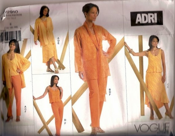 Sewing Pattern  Vogue 2910 Designer Adri Separates  Bust 42-46 inches  UNCUT COMPLETE